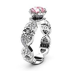 billige Motering-Dame Rosa Syntetisk Ruby crossover Ring - Platin Belagt, Fuskediamant Blomst, evighet trendy, Koreansk, Mote 6 / 7 / 8 / 9 / 10 Sølv Til Aftenselskap Karneval