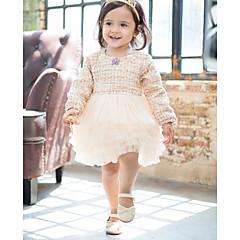 billige Babykjoler-Baby Pige Aktiv Ensfarvet Langærmet Knælang Polyester Kjole Beige 110