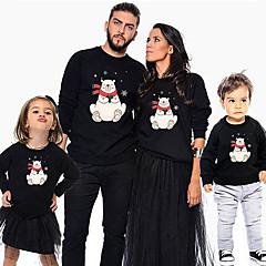 billige Sett med familieklær-Familie Look Grunnleggende Jul / Daglig Dyr Langermet Polyester Hettegenser og sweatshirt Svart Jenter 110