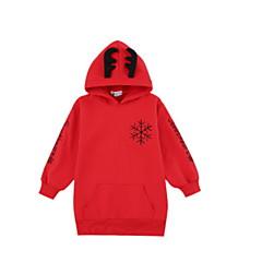 billige Hættetrøjer og sweatshirts til piger-Børn Pige Basale Blomstret Langærmet Bomuld Hættetrøje og sweatshirt Sort 140