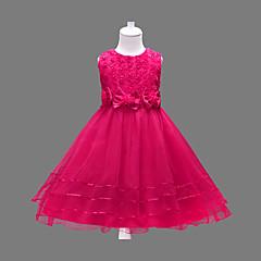 tanie Odzież dla dziewczynek-Dzieci Dla dziewczynek Słodkie Kwiaty Łuk / Warstwy materiały Bez rękawów Sukienka Fuksja