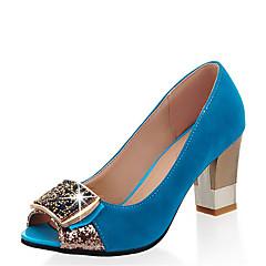 Women s Synthetics Spring   Summer Heels Chunky Heel Peep Toe Rhinestone  Fuchsia   Green   Blue   Party   Evening 45f347a29e33