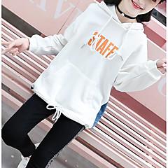 billige Hættetrøjer og sweatshirts til piger-Børn Pige Basale Daglig / Sport Ensfarvet Langærmet Normal Bomuld / Rayon Hættetrøje og sweatshirt Hvid