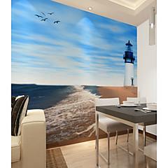 billige Tapet-bakgrunns / Veggmaleri Lerret Tapetsering - selvklebende nødvendig Trær / blader / Linjer / bølger / 3D
