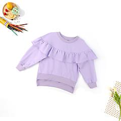 billige Hættetrøjer og sweatshirts til piger-Børn Pige Basale Daglig Ensfarvet Langærmet Normal Bomuld Hættetrøje og sweatshirt Lilla