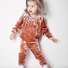 billige Sett med babyklær-Baby Pige Farveblok Langærmet Tøjsæt