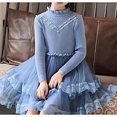 tanie Odzież dla dziewczynek-Dzieci Dla dziewczynek Podstawowy Solidne kolory Długi rękaw Bawełna / Poliester Sukienka Niebieski