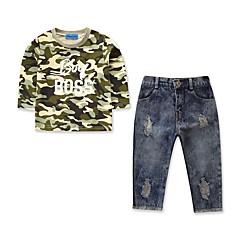 billige Tøjsæt til drenge-Børn / Baby Drenge Aktiv / Basale Daglig / Sport Trykt mønster Hul / Ribbet / Trykt mønster Langærmet Normal Bomuld / Polyester / Spandex Tøjsæt Army Grøn