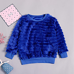 billige Hættetrøjer og sweatshirts til piger-Baby Pige Ensfarvet Langærmet Hættetrøje og sweatshirt