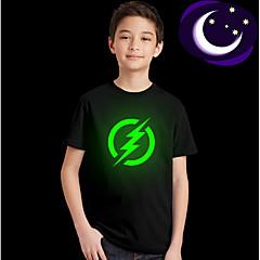 billige Overdele til drenge-Børn Drenge Basale Daglig Ensfarvet Kortærmet Normal Polyester T-shirt Sort 110