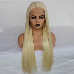 billiga Peruker och hårförlängning-Syntetiska snörning framifrån Dam Rak Blond Middle Part Syntetiskt hår 22-26 tum Värmetåligt / Dam / Mittbena Blond Peruk Lång Spetsfront Blekt Blont / limfria