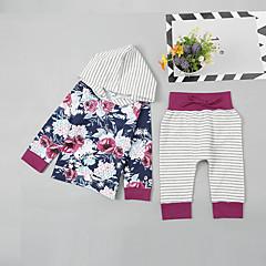 billige Babytøj-Baby Pige Basale / Gade Daglig / Sport Blomstret Trykt mønster Langærmet Normal Bomuld / Spandex Tøjsæt Hvid