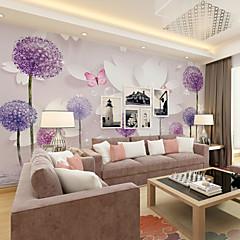 billige Tapet-bakgrunns / Veggmaleri Lerret Tapetsering - selvklebende nødvendig Trær / Blader / Art Deco / 3D