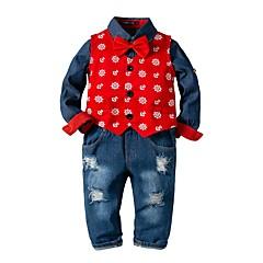 economico Abbigliamento per bambini-Bambino Da ragazzo Essenziale Con stampe Manica lunga Cotone Completo Rosso