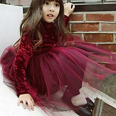 Недорогие Платья-Дети Девочки Классический Однотонный Длинный рукав Платье Бежевый
