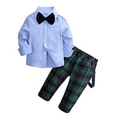 preiswerte Mode für Jungen-Kinder Jungen Grundlegend Solide Langarm Standard Polyester Kleidungs Set Grün
