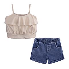 billige Tøjsæt til piger-Børn / Baby Pige Gade Daglig / I-byen-tøj Ensfarvet Uden ærmer Bomuld / Polyester Tøjsæt Kakifarvet