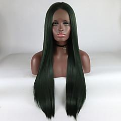 billiga Peruker och hårförlängning-Syntetiska snörning framifrån Dam Rak Grön Middle Part 180% Människohår Peruk Täthet Syntetiskt hår 18-26 tum Justerbar / Spets / Värmetåligt Grön Peruk Lång Spetsfront Grön