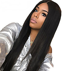 Remy Human Hair Deep Part Lace Front Full Lace Lace Front Wig Deep Parting  Kardashian style Brazilian Hair Straight Black Wig 130% Density 10-24 inch  with ... 075ad4630