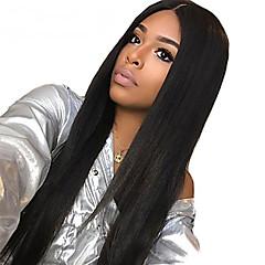 cheap Human Hair Wigs-Remy Human Hair Deep Part Lace Front Full Lace Lace Front Wig Deep Parting Kardashian style Brazilian Hair Straight Black Wig 130% Density 10-24 inch with Baby Hair Natural Hairline For Black Women