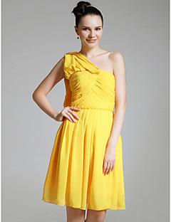 Χαμηλού Κόστους Ξεπούλημα Φορεμάτων Πάρτι Γάμου-κάθαρση! σιφόν θήκη / στήλη έναν ώμο γόνατο παράνυμφων / φόρεμα κοκτέιλ