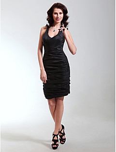 billiga Klänningar till speciella tillfällen-Åtsmitande V-hals / remmar Kort / mini Taft Den lilla svarta Cocktailfest Klänning med Veckad av TS Couture®