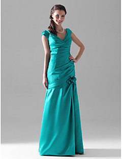 cheap Bridesmaid Dresses-Mermaid / Trumpet V Neck Floor Length Satin Bridesmaid Dress with Flower Ruched Side Draping by LAN TING BRIDE®