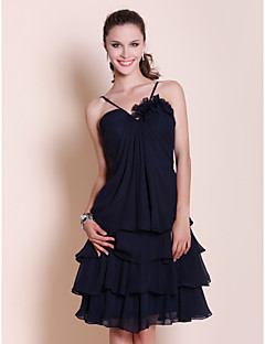 cheap Wedding Guest Dresses-A-Line Princess Spaghetti Straps Sweetheart Knee Length Chiffon Bridesmaid Dress with Draping Flower by LAN TING BRIDE®