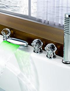 tanie Bateria Wannowa LED-Bateria Wannowa - Wodospad Powszechny LED Chrom Wanna rzymska Dwa uchwyty pięć otworów