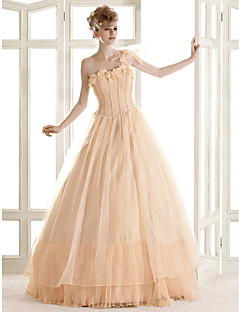 billiga Prinsessbrudklänningar-A-linje / Prinsessa Enaxlad Golvlång Organza Bröllopsklänningar tillverkade med Blomma / Lager av LAN TING BRIDE® / Brudklänning i färg