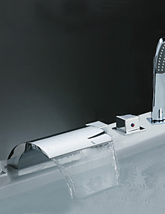 billige Romersk- bad-Moderne Romersk kar Foss Hånddusj Inkludert Utbredt Keramisk Ventil Fire Huller Krom, Badekarskran