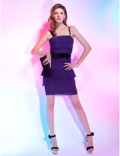 billiga Cocktailklänningar-Åtsmitande Smala axelband Kort / mini Chiffong / Stretchig satäng Cocktailfest Klänning med Blomma av TS Couture®