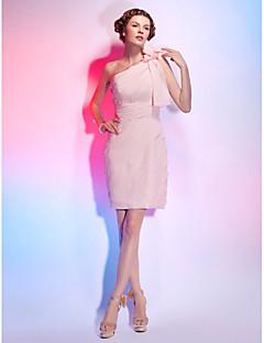 billiga Klänningar till speciella tillfällen-Åtsmitande Enaxlad Kort / mini Chiffong Cocktailfest Klänning med Sidodraperad / Veckad / Blomma av TS Couture®