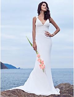 billiga Trumpet-/sjöjungfrubrudklänningar-Trumpet / sjöjungfru V-hals Svepsläp Chiffong Bröllopsklänningar tillverkade med Bård av LAN TING BRIDE®