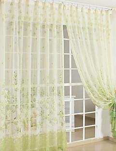 baratos Coleções de Janela-Barra no Interior Anéis Presilhas Duplo Plissado Dois Painéis Tratamento janela Estampado 100% Poliéster Poliéster Material Sheer