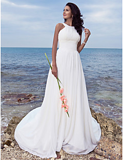 cheap Beach & Honeymoon Dresses-A-Line Jewel Neck Sweep / Brush Train Chiffon Custom Wedding Dresses with Draping Ruched by LAN TING BRIDE®