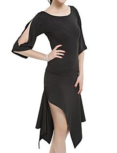 cheap Latin Dance Wear-Latin Dance Outfits Women's Training Polyester Half Sleeves Natural