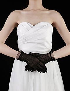 cheap Top Sellers-Lace Cotton Wrist Length Glove Charm Stylish Bridal Gloves Party/ Evening Gloves With Embroidery Solid