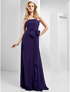 billiga Aftonklänningar-A-linje Smala axelband Golvlång Chiffong / Stretchig satäng Formell kväll Klänning med Rosett(er) / Sidodraperad av TS Couture®