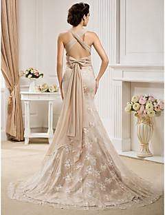 baratos Descontos em Vestidos de Casamento Luxuosos-Sereia Correias Cauda Escova Chiffon / Renda Vestidos de casamento feitos à medida com Laço / Faixa / Fita de LAN TING BRIDE®