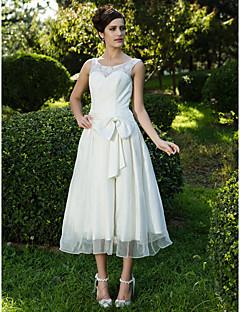 billiga A-linjeformade brudklänningar-A-linje / Prinsessa Scoop Neck Telång Spets / Organza Bröllopsklänningar tillverkade med Rosett / Bälte / band / Veckad av LAN TING BRIDE® / Liten vit klänning
