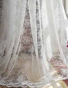 baratos Coleções de Janela-Barra no Interior Anéis Presilhas Duplo Plissado Dois Painéis Tratamento janela Regional , Jacquard Poliéster Material Sheer Curtains