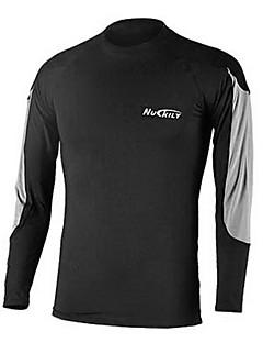 Nuckily Homens Segunda Pele para Ciclismo Camiseta de Corrida Manga Longa Térmico/Quente Secagem Rápida Zíper Frontal Vestível Respirável