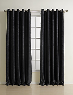 billige Mørkleggingsgardiner-Stanglomme Propp Topp Fane Top Dobbelt Plissert To paneler Window Treatment Neoklassisk, Mønsterpreget Ensfarget Soverom Polyester