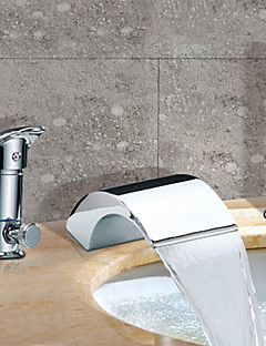 お買い得  ウォーターフォールタイプ-コンテンポラリー ローマンバスタブ 滝状吐水タイプ 組み合わせ式 セラミックバルブ 三つ 二つのハンドル三穴 クロム, 浴槽用水栓
