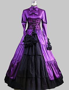 billiga Lolitamode-Klassisk Lolita Aristokrat Lolita Satin Dam Klänningar Cosplay Mörklila Balklänning Långärmad Ankellång Plusstorlekar Anpassad Kostymer
