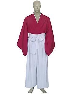 baratos Fantasias Anime-Inspirado por RurouniKenshin Himura Kenshin Anime Fantasias de Cosplay Ternos de Cosplay Chimono Retalhos Manga Longa Calças Hakama Capa