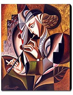 baratos Retratos Abstratos-Pintura a Óleo Pintados à mão - Pessoas Contemprâneo Tela de pintura