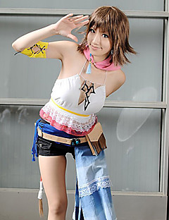 cheap Videogame Costumes-Inspired by Final Fantasy Yuna Video Game Cosplay Costumes Cosplay Suits Patchwork White Short SleeveVest / Shorts / Scarf / Armlet /