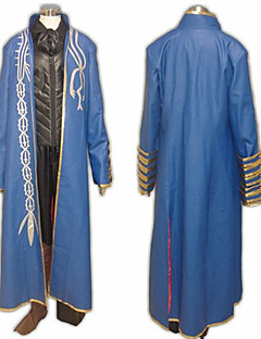 billige Videospill cosplay-Inspirert av Devil May Cry Vergil video Spill Cosplay Kostumer Cosplay Suits Lapper Blå Langt Erme Jakke / Vest / Bukser